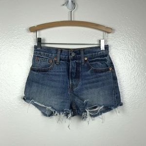 Levi's High Waist Distressed Button Fly Shorts